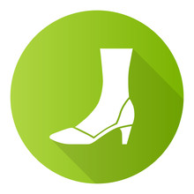 Court Shoes Green Flat Design Long Shadow Glyph Icon. Woman Stylish Formal Footwear Design. Female Casual Stacked Kitten Heels, Luxury Modern Pumps. Office Fashion. Vector Silhouette Illustration