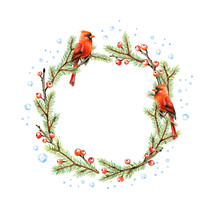 Fir Wreath With Holly Berries ...