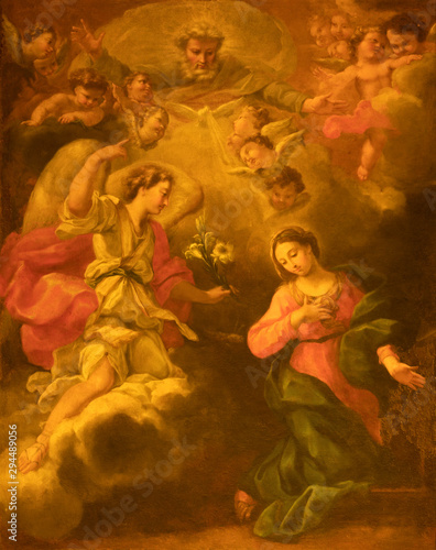 ACIREALE, ITALY - APRIL 11, 2018: The painting of Annunciation in Duomo - cattedrale di Maria Santissima Annunziata by Antonio Filocamo (1711).