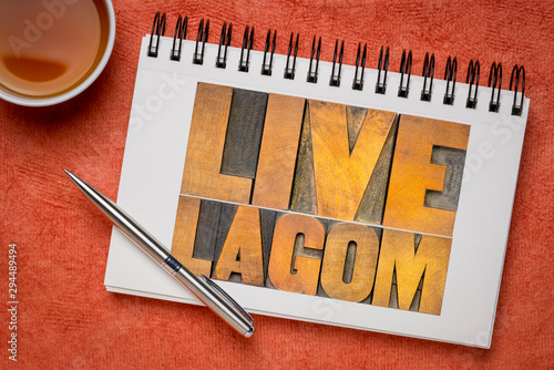 live lagom word abstract in wood type Fototapeta