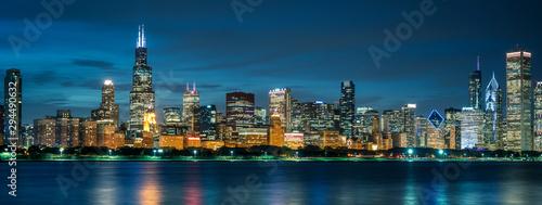 Obraz Chicago skyline by night - fototapety do salonu