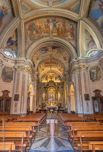 COMO, ITALY - MAY 9, 2015: The nave of church Chiesa di San Andrea Apostolo (Brunate) with the frescoes in the cupola by Mario Albertella (1934).