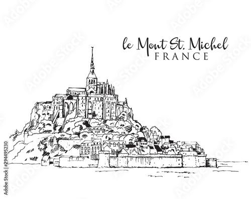 Foto Drawing sketch illustration of le Mont Saint Michel