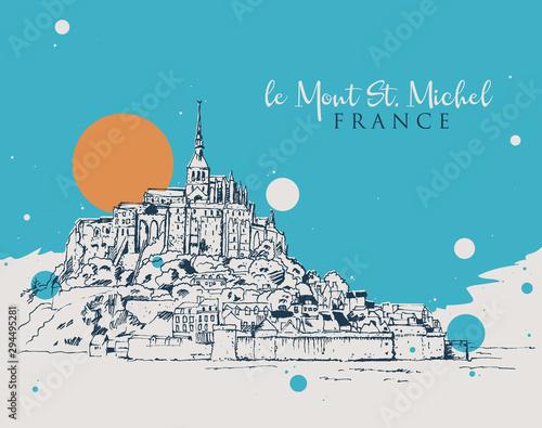 Drawing sketch illustration of le Mont Saint Michel Fotobehang