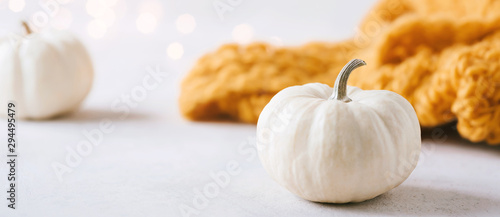 Fototapeta Bright, autumn themed banner with white pumpkins, magic lights and a mustard yellow woolen scarf - header, banner with copy space obraz