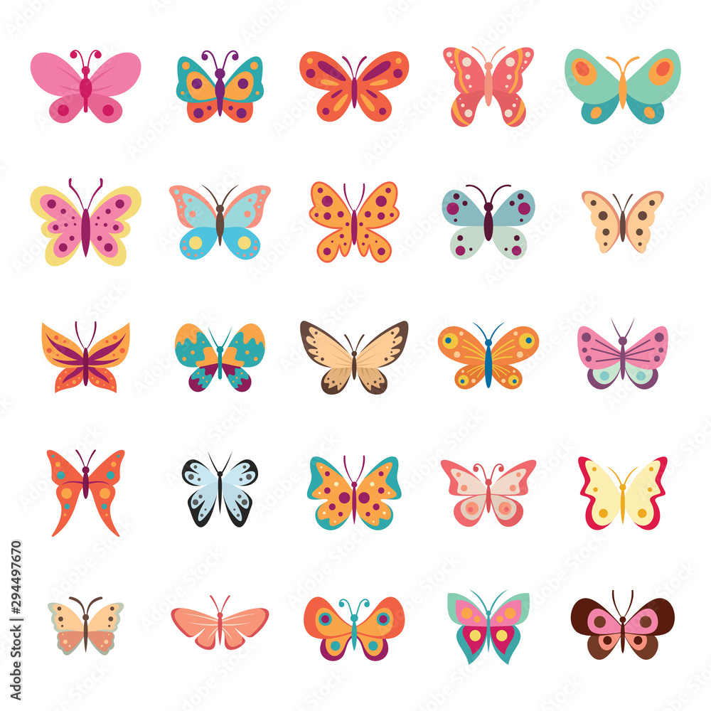 Fototapeta Color flat butterfly set. Butterflies vector collection spring. Vintage insects vector collection isolated on white background