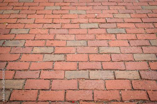 Empty brick sidewalk