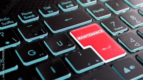 Fotografia maintenance text on keyboard enter key