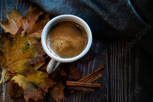 Autumn leaves, mug with hot chocolate, sticks of cinnamon and a grey blanket on wooden background.