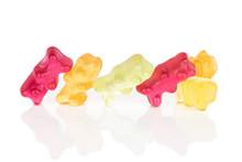 Group Of Six Whole Gummy Bear Isolated On White Background