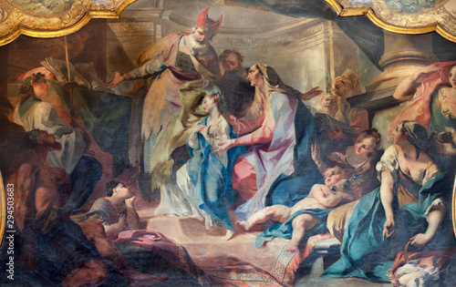 COMO, ITALY - MAY 8, 2015: The painting of Presentation of Virgin Mary in the Temple in church Santuario del Santissimo Crocifisso by Carlo Innocenzo Carloni (1686–1775).