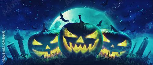 Halloween Motiv mit Kürbisen auf dem Friedhof Canvas Print
