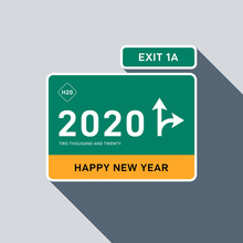 2020 Happy New Year Concept Decorative With Highway Sign