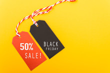 Internet Online Shopping, Promotion Black Friday Text On Black Tag And 50% Sale Text On Red Tag