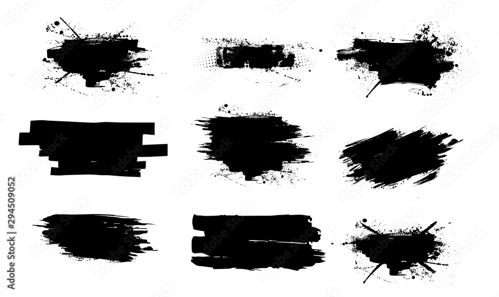 Fototapety, obrazy: Ink splashes set.High level of tracing. Black inked splatter dirt stain splatter spray splash with drops blots isolated vector grunge silhouette set. Vector collection