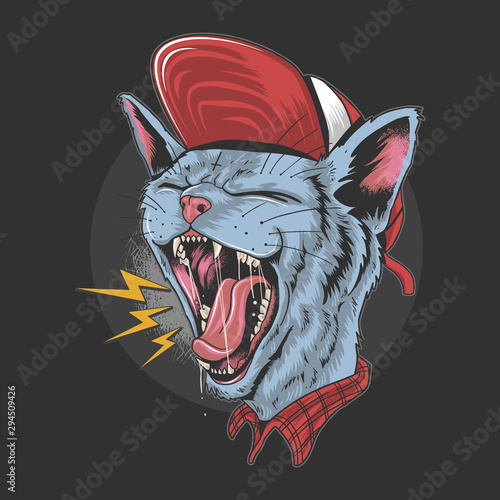Fényképezés CAT KITTY SCREAM OVER ROCK N ROLL PUNKER ARTWORK VERCTOR