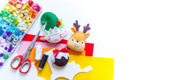 Craft Soft Toy Decor For Christmas Tree Elf Felt. Copy Space Banner