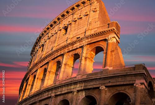 Fotografie, Obraz  Famous Coliseum (Colosseum) of Rome at early sunset