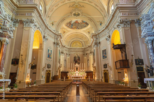 MALCESINE, ITALY - JUNE 13, 2019: The nave of church Chiesa di Santo Stefano.