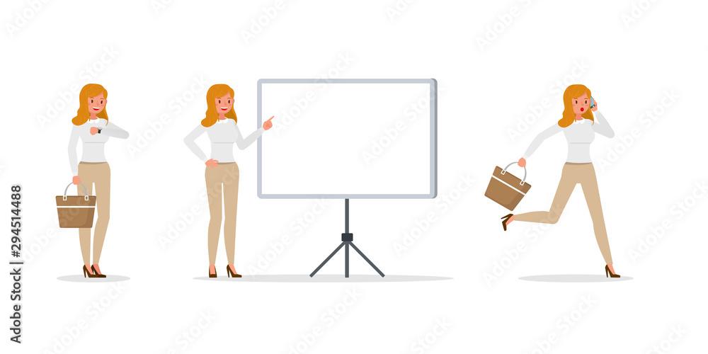 Fototapeta Business Woman showing different gestures character vector design. no35