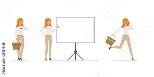 Business Woman showing different gestures character vector design. no35 - 294514488