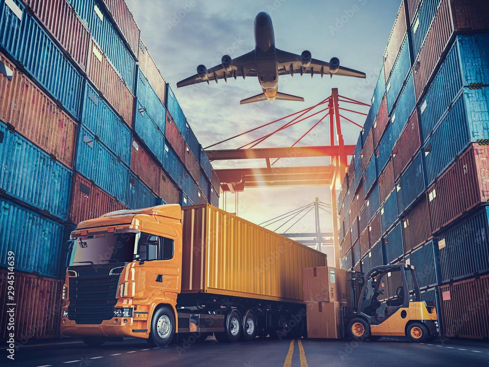 Fototapeta Transportation and logistics of Container Cargo ship and Cargo plane.