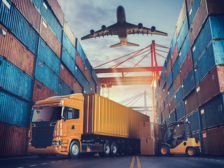 Transportation and logistics of Container Cargo ship and Cargo plane.