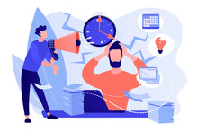 Exhausted, Frustrated Worker, Burnout. Boss Shout At Employee, Deadline. How To Relieve Stress, Acute Stress Disorder, Work Related Stress Concept. Pinkish Coral Bluevector Isolated Illustration