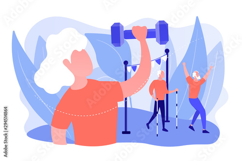 Pensioners healthy lifestyle. Aged woman training, working out, lifting weights. Elder fitness, sport for old people, elder sporting goods concept. Pinkish coral bluevector isolated illustration