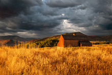 Old Wooden Barn On A Dramatic ...