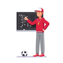 Soccer Coach Man Drawing Game Plan On Chalk Board