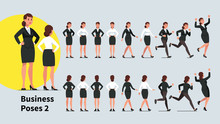 Business Woman Poses Set. Fron...