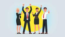 Business Men, Women Manager Team Celebrate Success