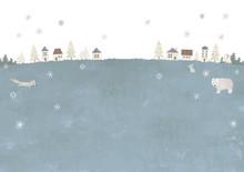 雪の草原と街と動物
