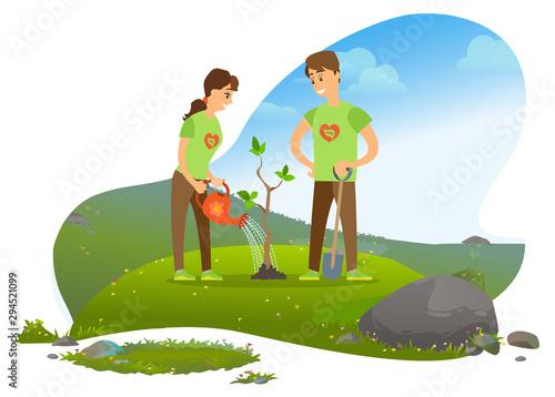Fototapeta Planting tree, man and woman, gardening and growing