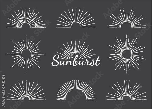 Obraz Vintage sunburst with radial sun beams vector collection background. EPS10. - fototapety do salonu