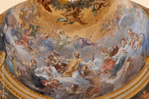 CATANIA, ITALY - APRIL 6, 2018: The fresco of Apotheosis of St. Ignace in cupola of church Chiesa di San Francesco Borgia by Olivio Sozzi 1760.