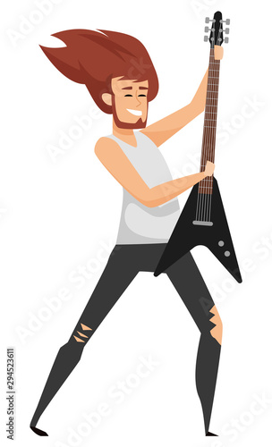 Fotografia Man musician holding guitar, smiling male with beard holding instrument, rock guitarist with musical equipment, hard music performance, hobby