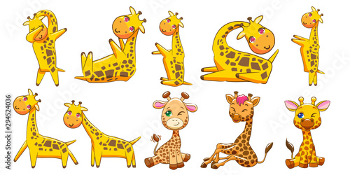 giraffe vector set clipart design Wallpaper Mural