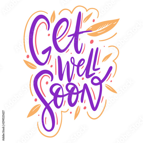 Get well soon hand drawn vector illustration and lettering Tablou Canvas