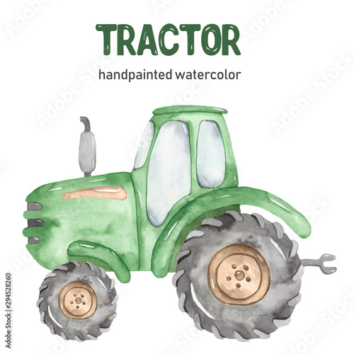 Watercolor green tractor clipart on white background Canvas Print