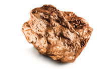 Bronze Nugget Precious Stone On White Background