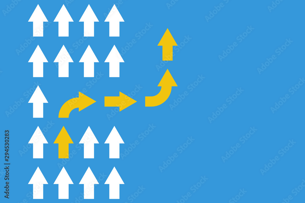 Fototapeta white arrows group in one direction and yellow arrow with different way, business innovations or new strategy vector concept