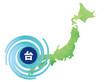 台風が日本に直撃しているイメージ