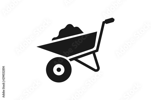 Fotografía  wheelbarrow icon vector design illustration