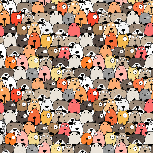 Cute dog seamless pattern background. Vector illustration. Canvas Print