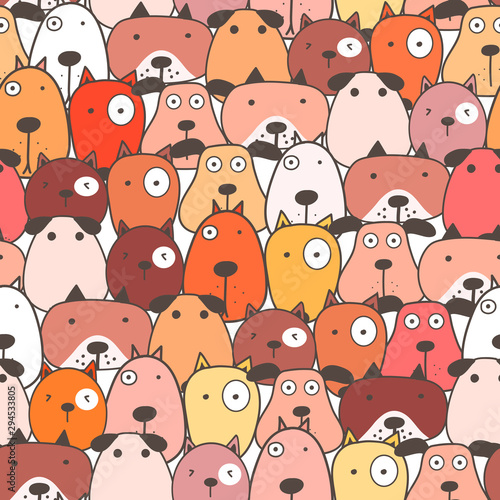 obraz lub plakat Cute dog seamless pattern background. Vector illustration.