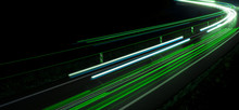 Lights Of Cars With Night. Abstraction Of Light Trails
