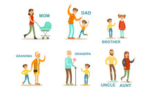 Happy Big Family Members Set, Grandma, Grandpa, Aunt, Uncle, Mother, Father, Brother And Sister Vector Illustration