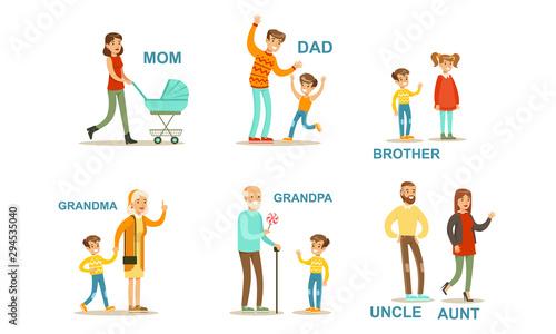 Fotomural  Happy Big Family Members Set, Grandma, Grandpa, Aunt, Uncle, Mother, Father, Bro